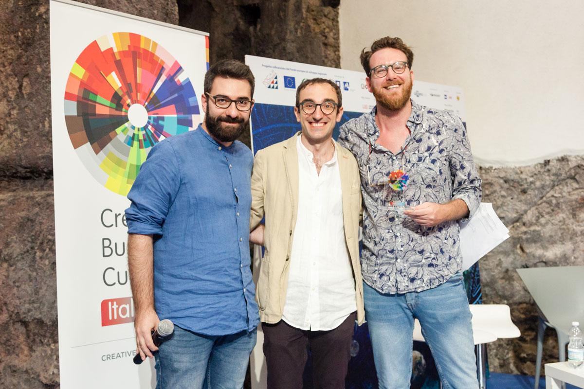 Premiazione di Fabrizio Davide, founder di ARIA, start-up seconda classificata.